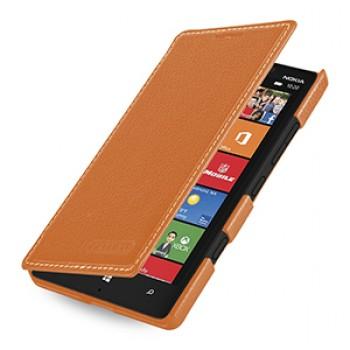 Кожаный чехол книжка горизонтальная (нат. кожа) для Nokia Lumia 930 оранжевая
