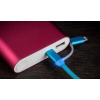 Сверхпрочный двухканальный силиконовый кабель USB-MicroUSB/Lightning 1 м с LED-индикацией процесса зарядки Синий