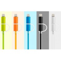 Сверхпрочный двухканальный силиконовый кабель USB-MicroUSB/Lightning 1 м с LED-индикацией процесса зарядки для