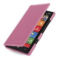 Кожаный чехол книжка горизонтальная (нат. кожа) для Nokia Lumia 930 розовая