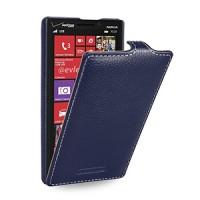 Кожаный чехол книжка вертикальная (нат. кожа) для Nokia Lumia 930 синяя