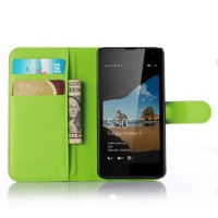 Чехол портмоне подставка с защелкой для Microsoft Lumia 550 Зеленый