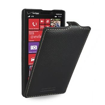 Кожаный чехол книжка вертикальная (нат. кожа) для Nokia Lumia 930 черная
