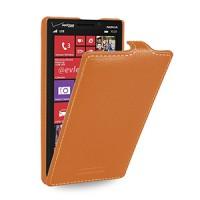 Кожаный чехол книжка вертикальная (нат. кожа) для Nokia Lumia 930 оранжевая