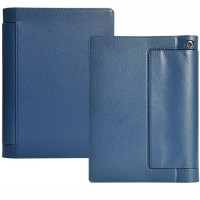 Кожаный чехол подставка с полной защитой экрана и корпуса на липучке для Lenovo Yoga Tab 3 10 Синий