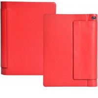 Кожаный чехол подставка с полной защитой экрана и корпуса на липучке для Lenovo Yoga Tab 3 10 Красный