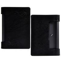Чехол подставка с рамочной защитой экрана и рельефным принтом для Lenovo Yoga Tab 3 10 Черный