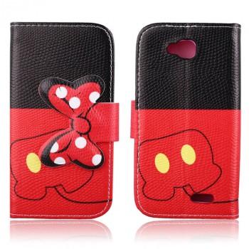 Чехол портмоне подставка с защелкой и полноповерхностным принтом для LG L90