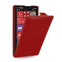 Кожаный чехол книжка вертикальная (нат. кожа) для Nokia Lumia 930 красная