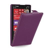 Кожаный чехол книжка вертикальная (нат. кожа) для Nokia Lumia 930 фиолетовая