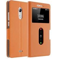 Кожаный чехол флип подставка на пластиковой основе с окном вызова и свайпом для ZTE Blade X9 Оранжевый