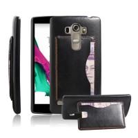 Дизайнерский чехол накладка с отделениями для карт и подставкой для LG G4 S Черный