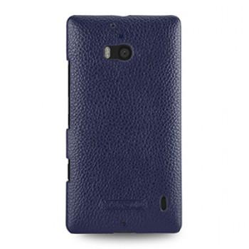 Кожаный чехол накладка (нат. кожа) для Nokia Lumia 930 синяя