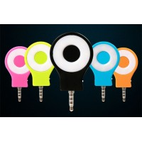 Круглая LED-вспышка 200мАч 3 Вт с регулятором яркости и подключением через аудиоразъем для HTC Desire 600 (606w, dual sim)