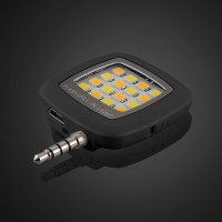 Квадратная LED-вспышка 200мАч 3 Вт с регулятором яркости и подключением через аудиоразъем для Huawei Y6