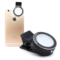 Автономная круглая LED-вспышка 200мАч 3 Вт с регулятором яркости на клипсе для Samsung Galaxy Alpha (SM-G850F, g850)