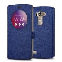 Текстурный чехол флип подставка на пластиковой основе с круглым окном вызова для LG G4 S Синий