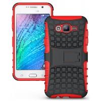 Антиударный двухкомпонентный чехол с поликарбонатной накладкой экстрим защита для Samsung Galaxy J7 Красный