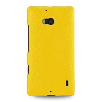Кожаный чехол накладка (нат. кожа) для Nokia Lumia 930 желтая