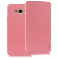 Чехол флип подставка текстура Линии на пластиковой основе на присоске для Samsung Galaxy J7 Розовый