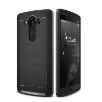 Двухкомпонентный чехол с силиконовой накладкой и поликарбонатным бампером для LG V10 Черный