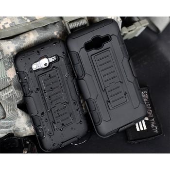 Антиударный двухкомпонентный силиконовый чехол с поликарбонатными вставками и клипсой для ремня для противоударной экстрим защиты для Samsung Galaxy J7