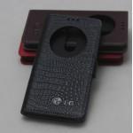 Кожаный чехол флип подставка на пластиковой основе с защёлкой и окном вызова (нат. кожа крокодила) для LG G3 S