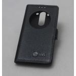 Кожаный чехол флип подставка на пластиковой основе с защёлкой и окном вызова ля LG G3 S