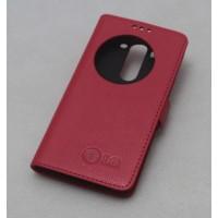 Кожаный чехол флип подставка на пластиковой основе с защёлкой и окном вызова ля LG G3 S Красный