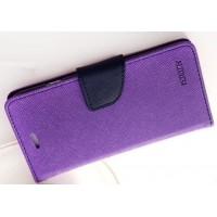 Текстурный чехол портмоне подставка на силиконовой основе с дизайнерской защелкой для HTC Desire 728 Фиолетовый