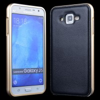 Двухкомпонентный чехол с металлическим бампером и поликарбонатной накладкой c поверхностью из нат. Кожи для Samsung Galaxy J7