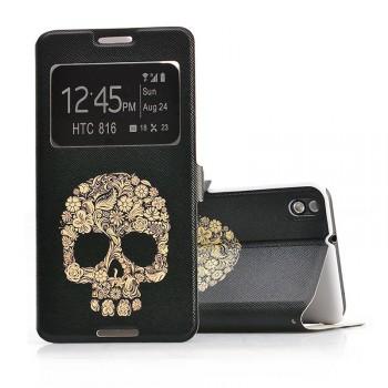 Дизайнерский принтованный чехол флип на пластиковой основе с окном вызова для HTC Desire 816
