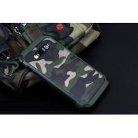 Двухкомпонентный силиконовый чехол с поликарбонатными вставками текстура Камуфляж для Samsung Galaxy J7 Зеленый