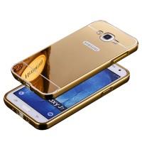 Двухкомпонентный чехол с металлическим бампером и поликарбонатной накладкой с зеркальным покрытием для Samsung Galaxy J7 Бежевый