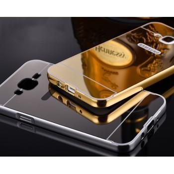 Двухкомпонентный чехол с металлическим бампером и поликарбонатной накладкой с зеркальным покрытием для Samsung Galaxy J7