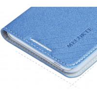 Чехол флип подставка на пластиковой основе с отделением для карт для HTC Desire 816 Синий