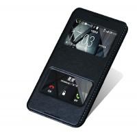 Чехол флип подставка на пластиковой основе с окном вызова и свайпом для HTC Desire 816 Черный