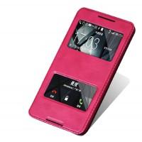 Чехол флип подставка на пластиковой основе с окном вызова и свайпом для HTC Desire 816 Пурпурный