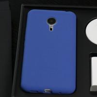 Силиконовый матовый софт-тач премиум чехол для Meizu Pro 5 Синий