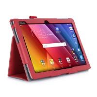 Чехол подставка с рамочной защитой экрана, внутренними отсеками и поддержкой кисти для ASUS ZenPad 10 Красный