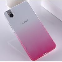 Силиконовый матовый полупрозрачный градиентный чехол для Huawei ShotX Розовый