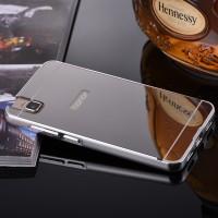 Двухкомпонентный чехол с металлическим бампером и поликарбонатной накладкой с зеркальным покрытием для Huawei ShotX Серый