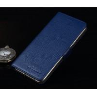 Кожаный чехол портмоне подставка (премиум нат. Кожа) на пластиковой основе и на магнитной защелке для Huawei ShotX Синий