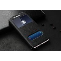 Чехол флип подставка на пластиковой основе с окном вызова и свайпом на магнитной защелке для Huawei ShotX Черный