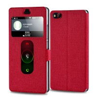 Текстурный чехол флип подставка на пластиковой основе с окном вызова и свайпом для ZTE Nubia Z9 Mini Красный