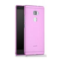 Силиконовый глянцевый полупрозрачный чехол для Huawei Mate S Розовый