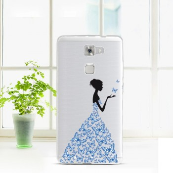 Силиконовый матовый полупрозрачный чехол с принтом для Huawei Mate S