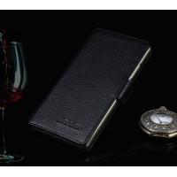 Кожаный чехол портмоне подставка (премиум нат. Кожа) на пластиковой основе на магнитной защелке для Samsung Galaxy J7 Черный