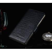 Кожаный чехол портмоне подставка (премиум нат. Кожа крокодила) на пластиковой основе на магнитной защелке для Samsung Galaxy J7 Черный