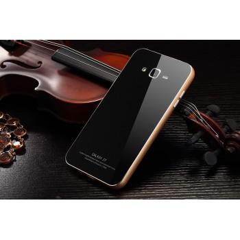 Двухкомпонентный чехол с металлическим бампером и поликарбонатной накладкой с поверхностью из закаленного стекла для Samsung Galaxy J7